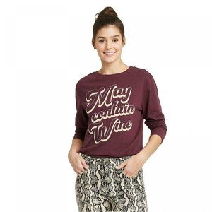 NWT May Contain Wine Graphic T-Shirt Small
